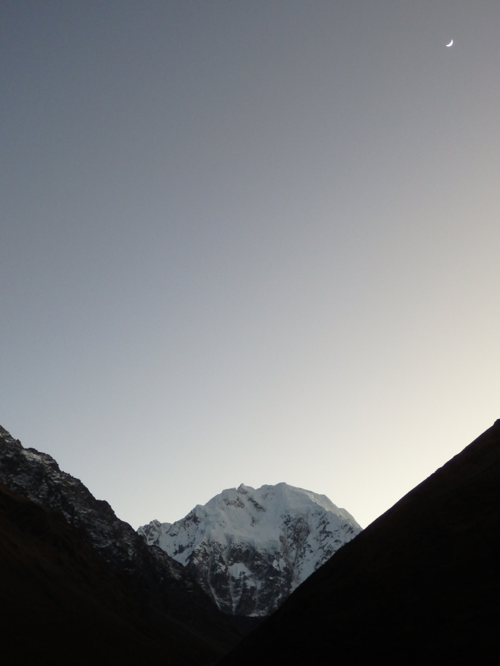 The view of Salkantay in the early morning.