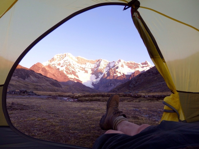 camp spot, view from tent